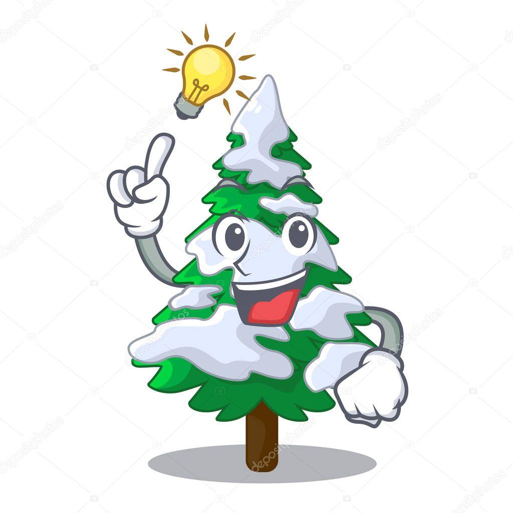 Have an idea fir with snow christmas tree cartoon vector illustration
