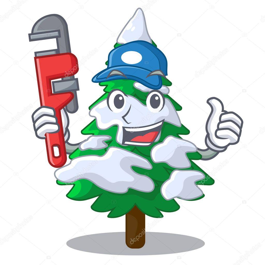 Plumber fir with snow christmas tree cartoon vector illustration