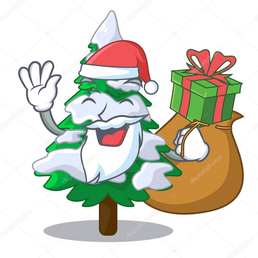 Santa with gift fir with snow christmas tree cartoon vector illustration