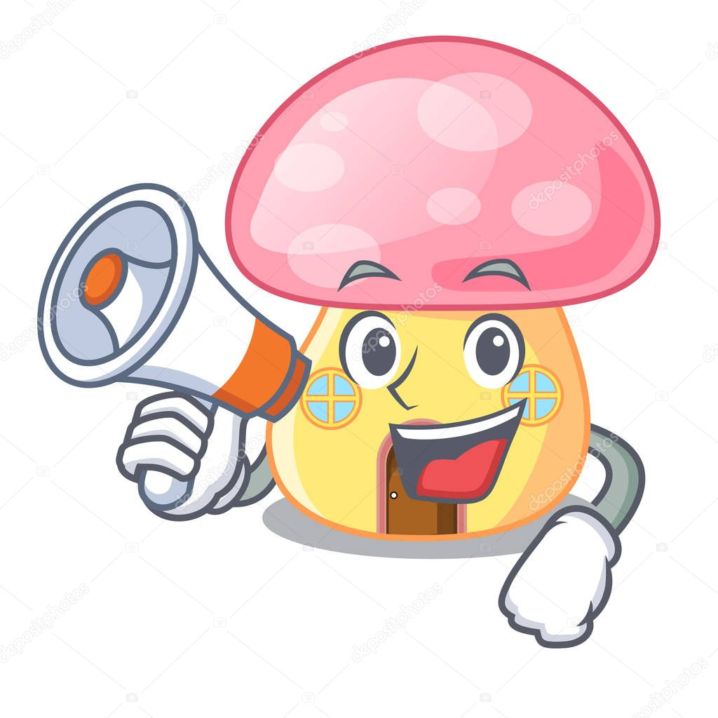 With megaphone house mushroom in isolated on mascot vector illustration