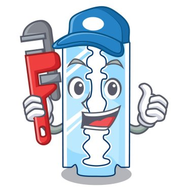 Plumber disposable razor character on wooden table vector illustration