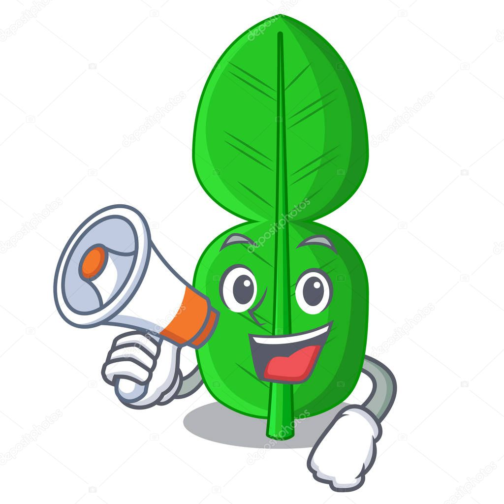 With megaphone bergamot lime leaf isolated on mascot vector illustration