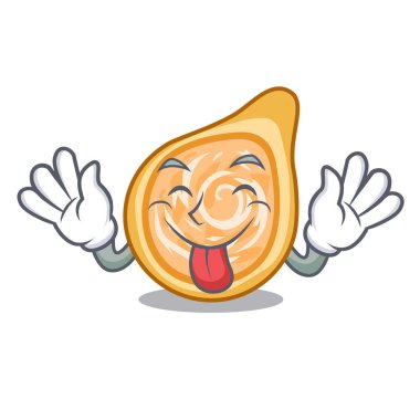 Tongue out chicken coxinha in shape a cartoon vector illustration