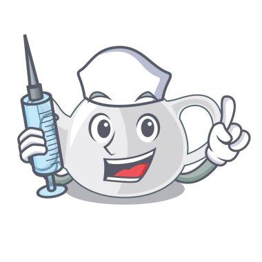 Nurse porcelain teapot ceramic isolate on mascot vector illustration
