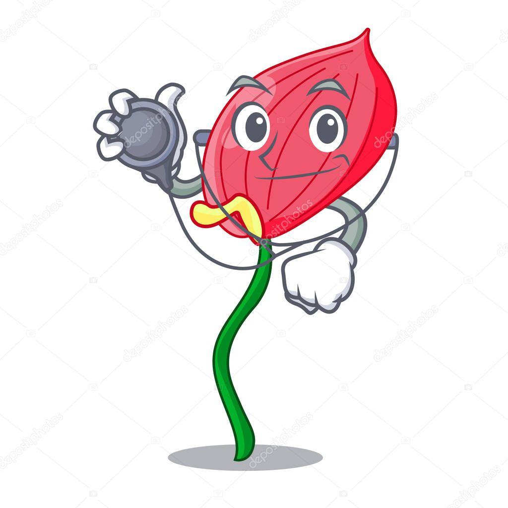 Doctor pink anthurium flower in shape cartoon vector illustratration