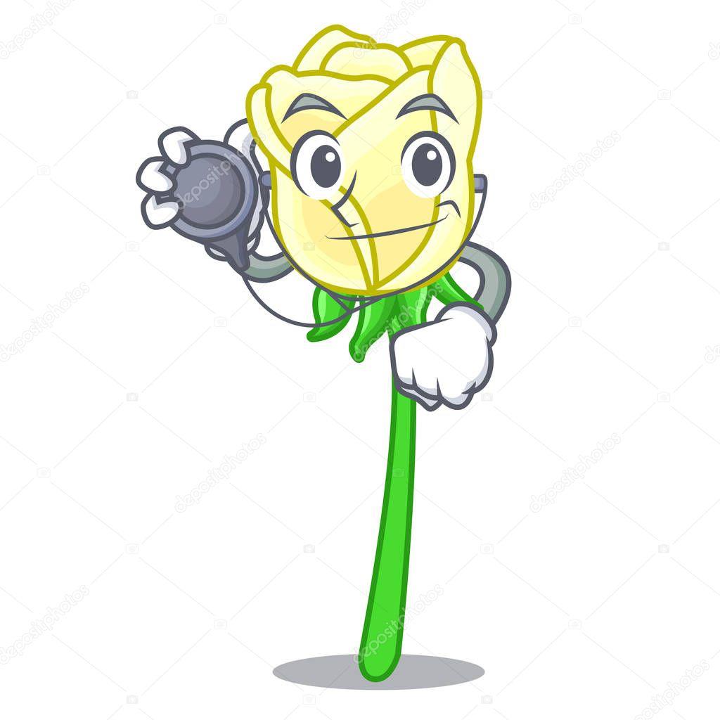 Doctor white rose in the shape cartoon vector illustration