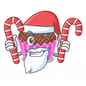 Photo Santa with candy brigadeiro is wrapped in a mascot vector illustartion
