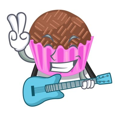 With guitar bragadeiro presented in the character jar vector illustartion