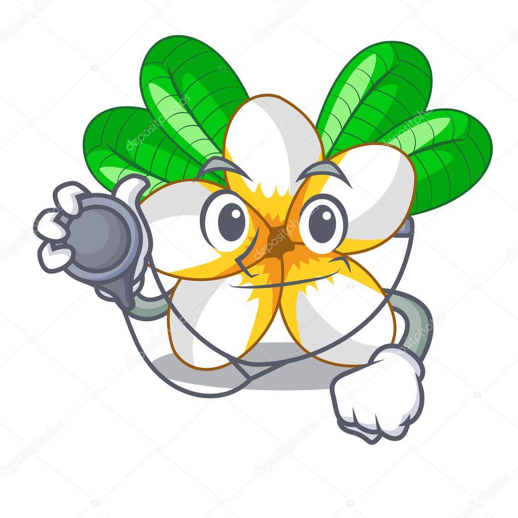 Doctor flower frangipain in a cartoon basket vector illustration