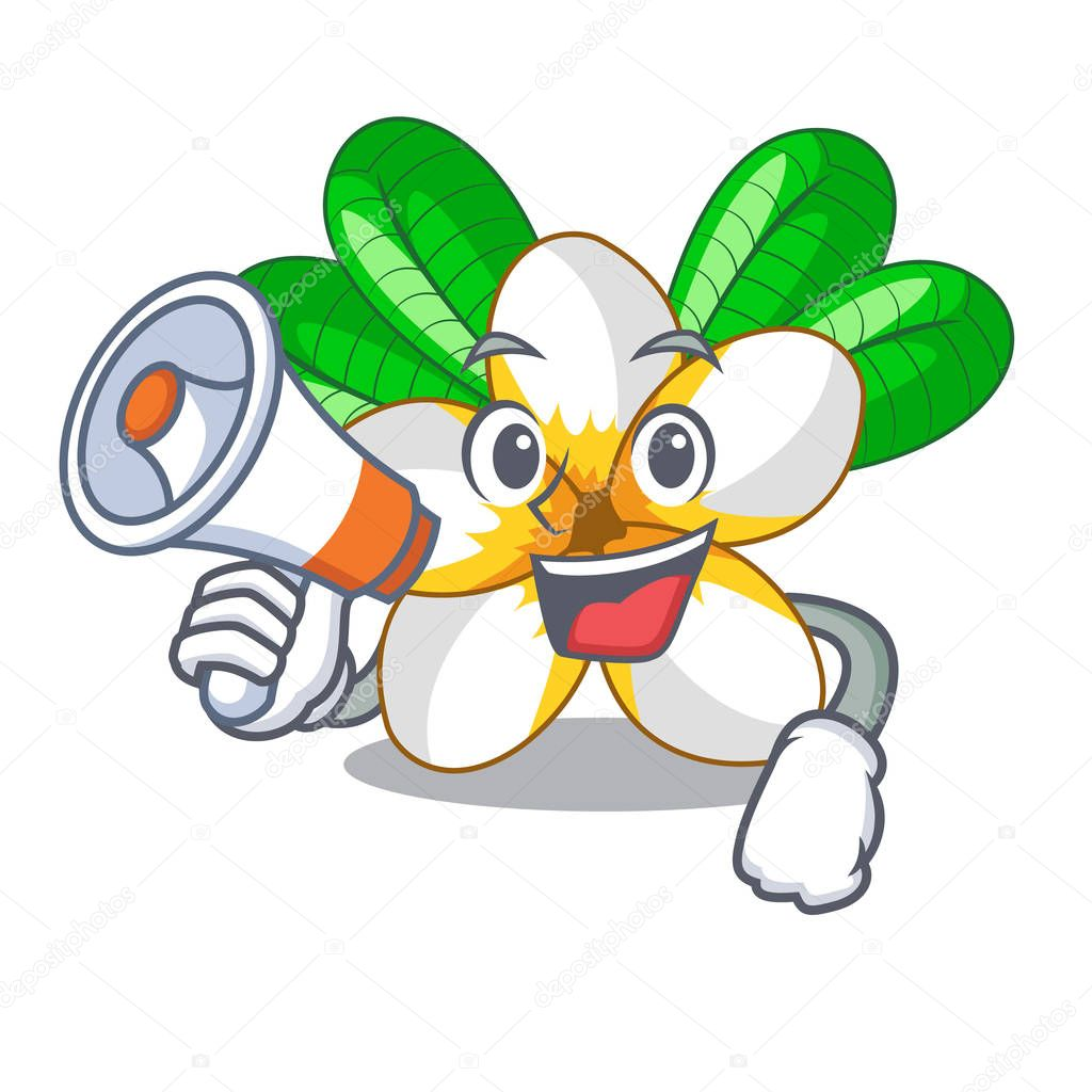 With megaphone flower frangipain in a cartoon basket vector illustration