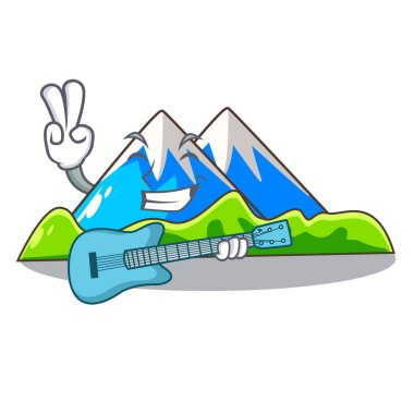 With guitar mountain scenery isolated from the mascot vector ilustration