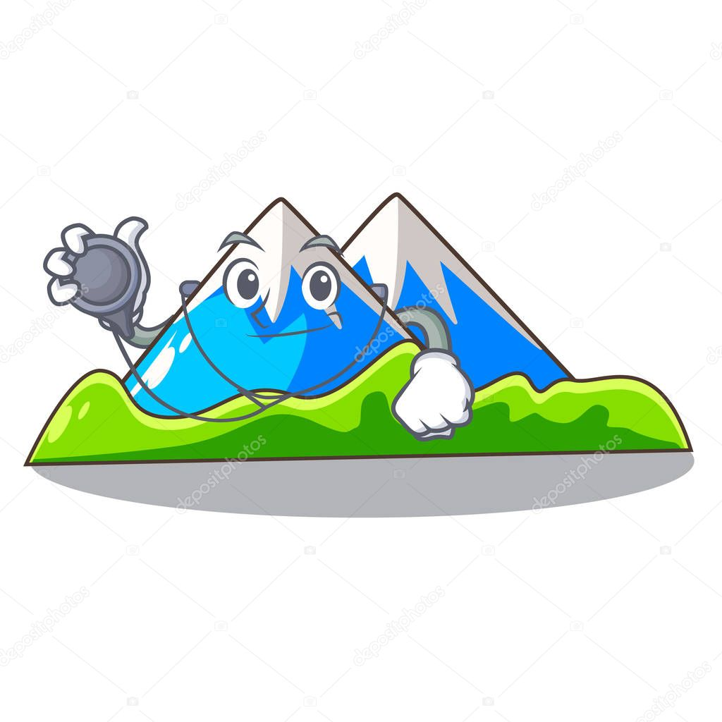 Doctor beautiful mountain in the cartoon form vector illustration