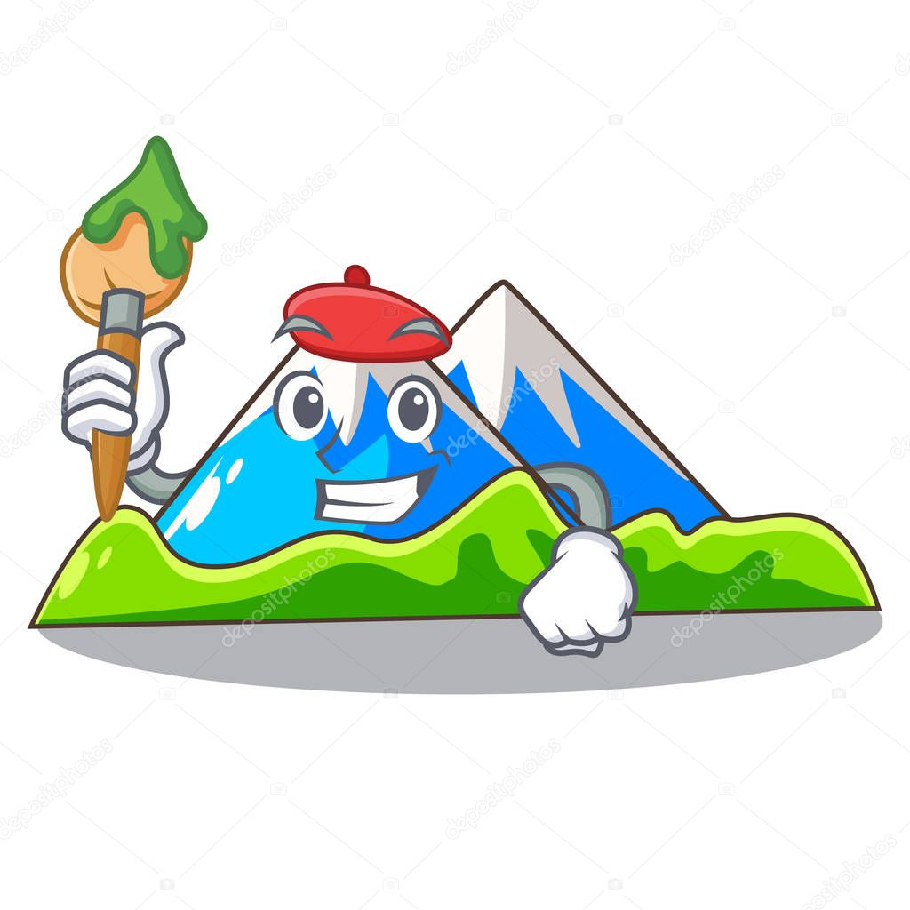 Artist beautiful mountain in the cartoon form vector illustration