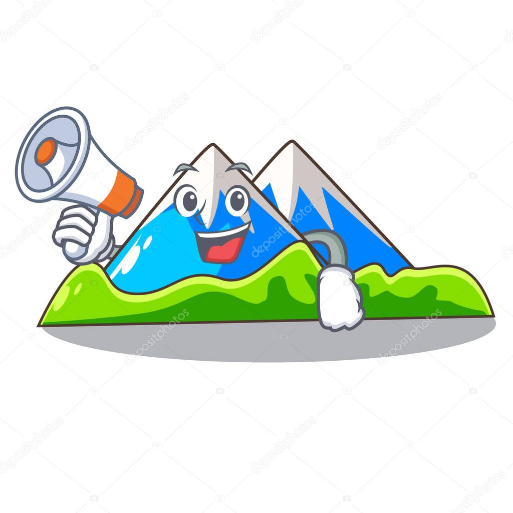 With megaphone beautiful mountain in the cartoon form vector illustration