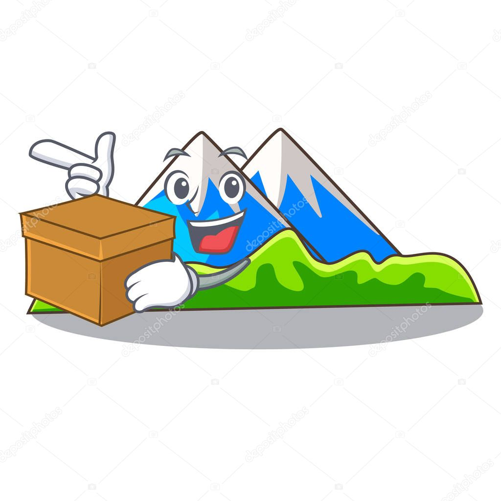 With box miniature mountain in the character form vector illustration