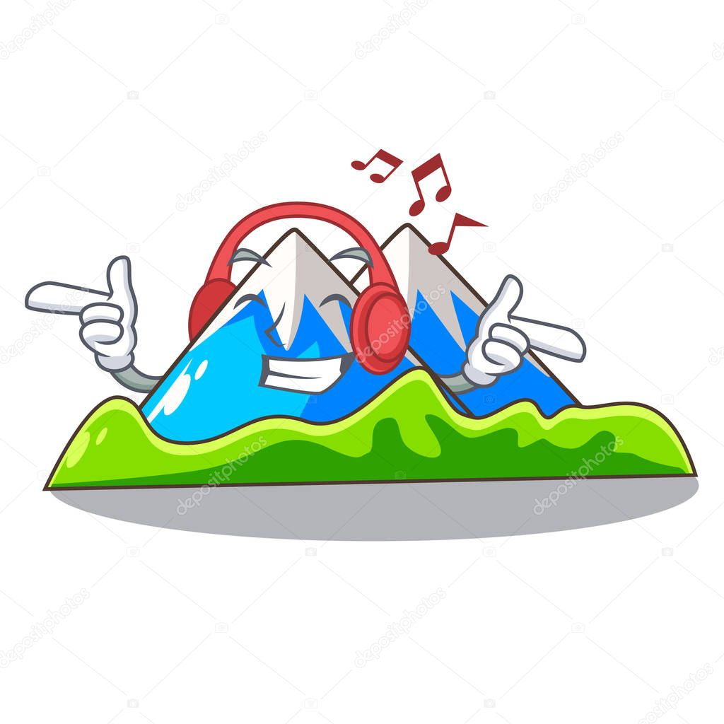 Listening music mountain scenery isolated from the mascot vector ilustration