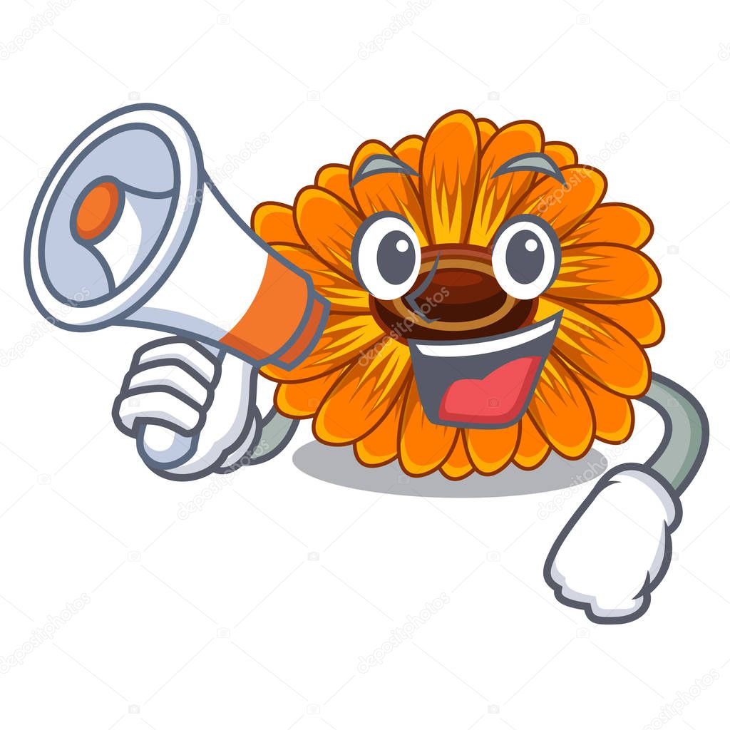 With megaphone calendula flowers in the cartoon pots vector illustration