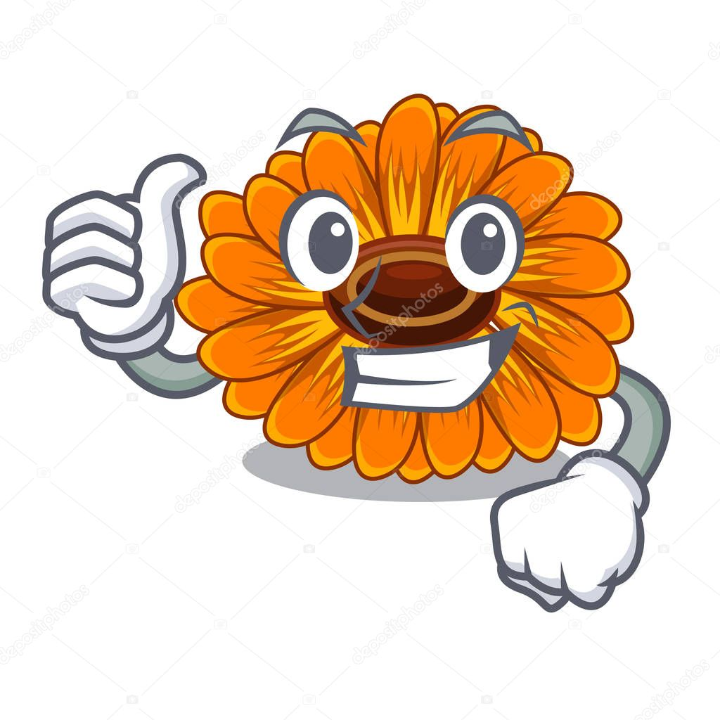 Thumbs up calendula flowers in a cartoon basket vector illustration