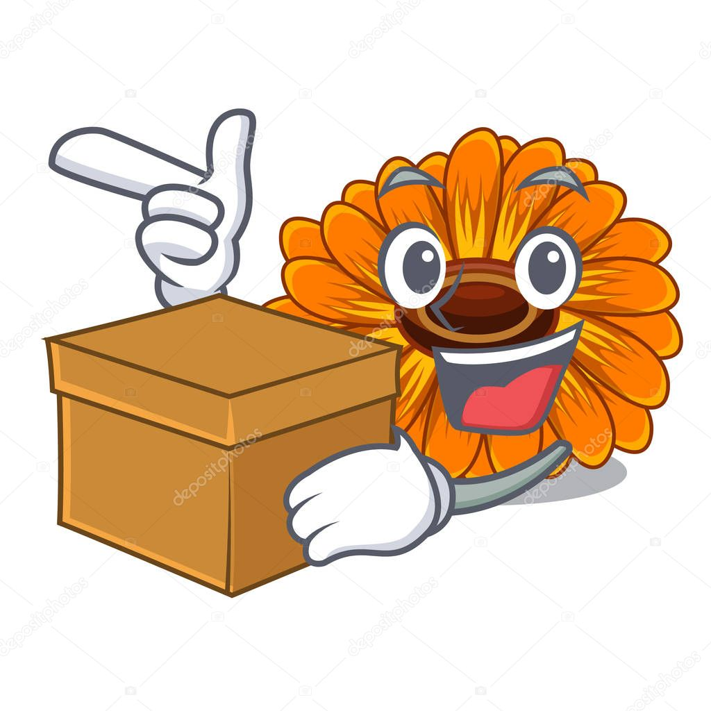 With box calendula flowers in a cartoon basket vector illustration