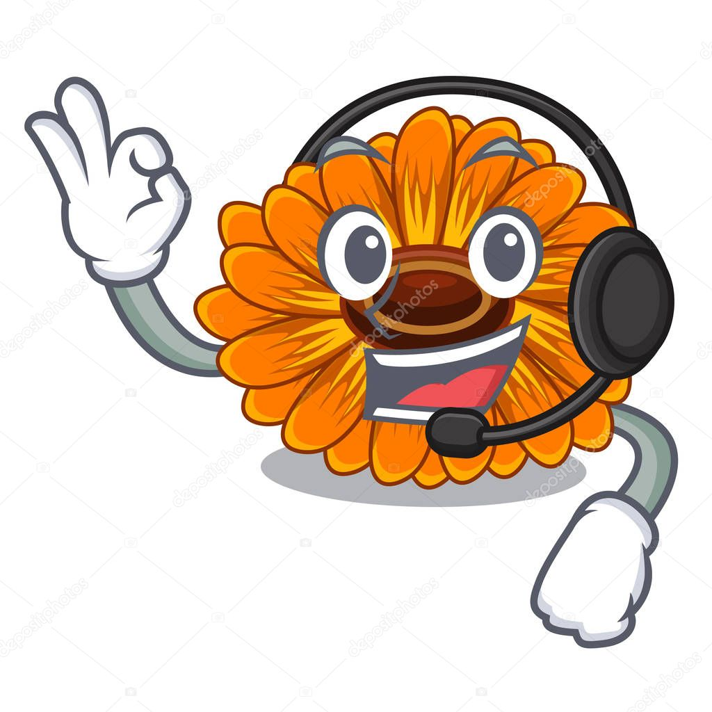 With headphone calendul flower tree is character shape vector illustration