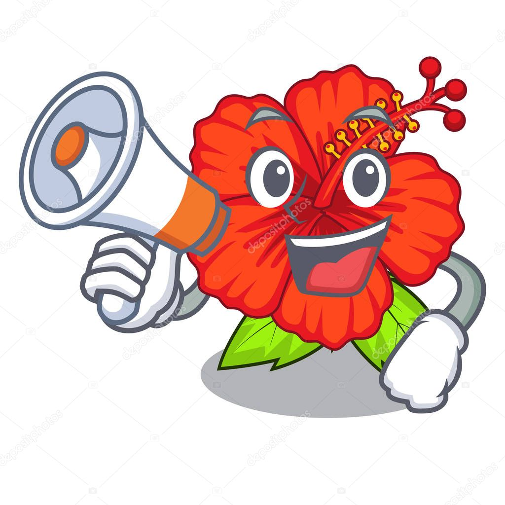 With megaphone ambilcus flower in form cute cartoon vector illutration