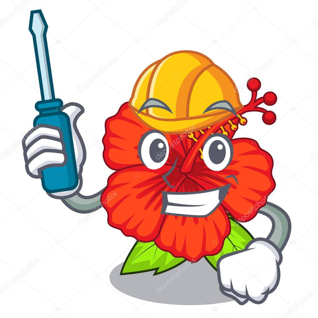 Automotive hambiscus flower in the mascot stem vector illustration