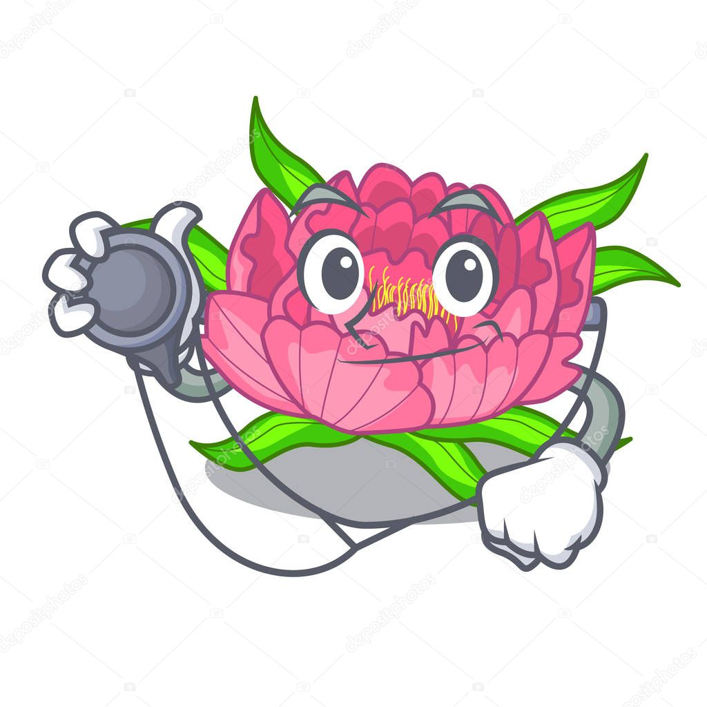 Doctor Peony flowers in a cartoon basket vector illustration