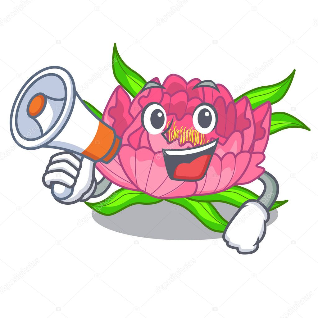 With megaphone Peony flowers in a cartoon basket vector illustration