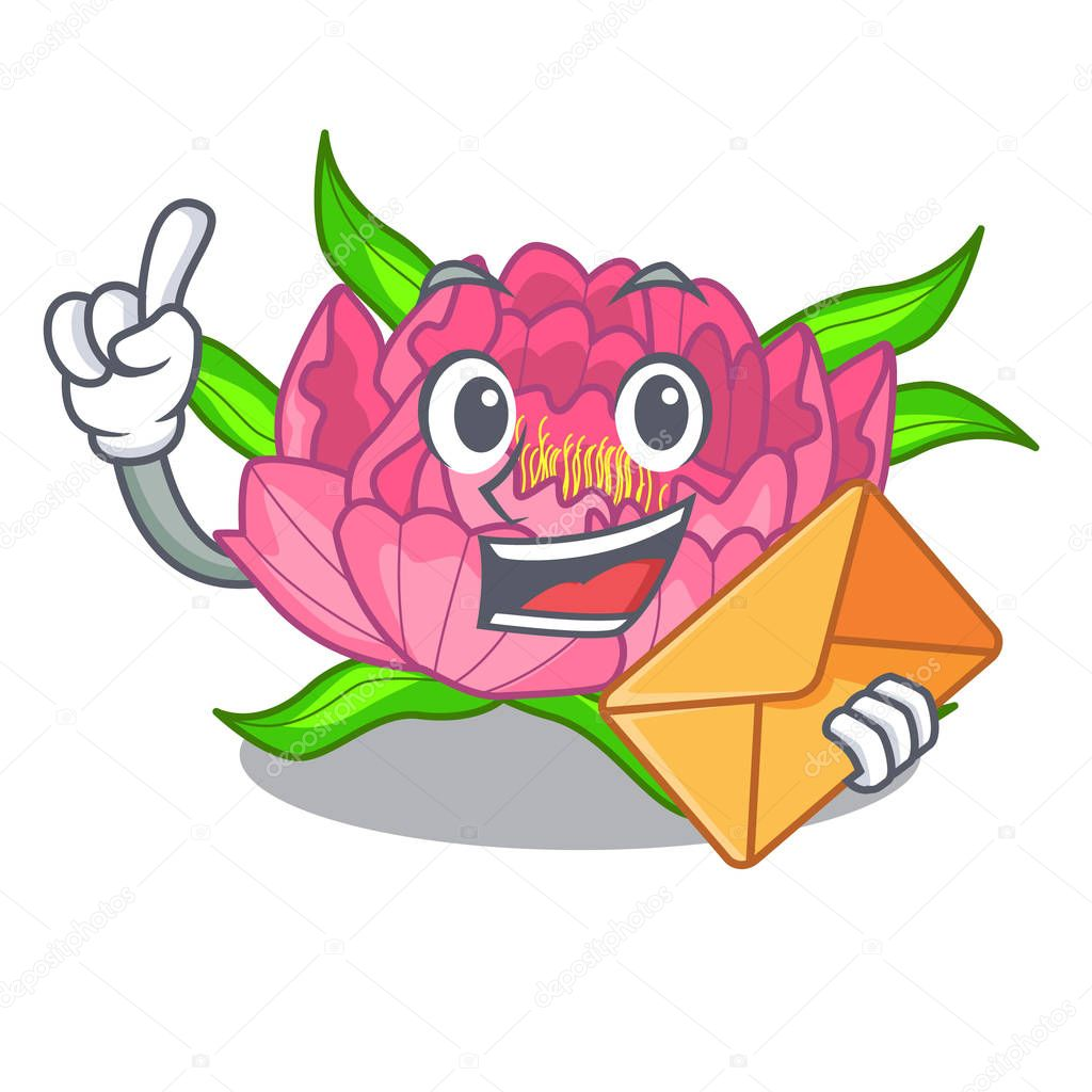 With envelope peony flowers in the cartoon pots vector illustration