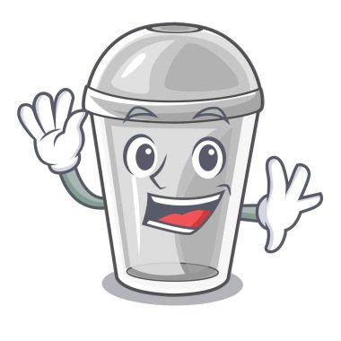 Waving plastic cup in the character image vector illustration