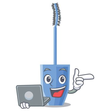 With laptop long mascara brush the in mascot vector illustration