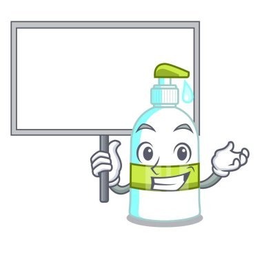 Bring board liquid soap in the character bottles vector illustratrion