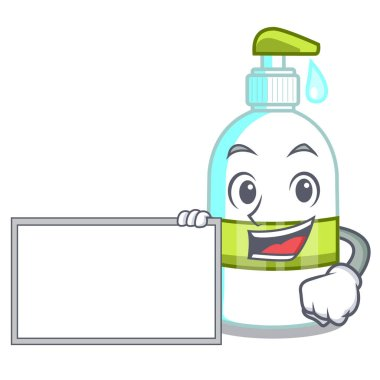 With board liquid soap in the character bottles vector illustratrion