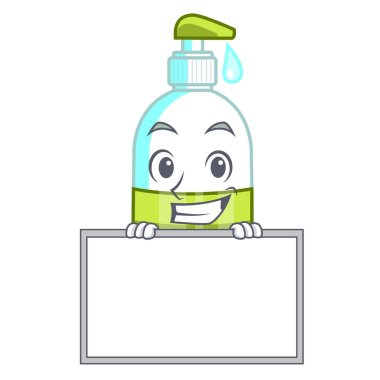 Grinning with board liquid soap in the character bottles vector illustratrion