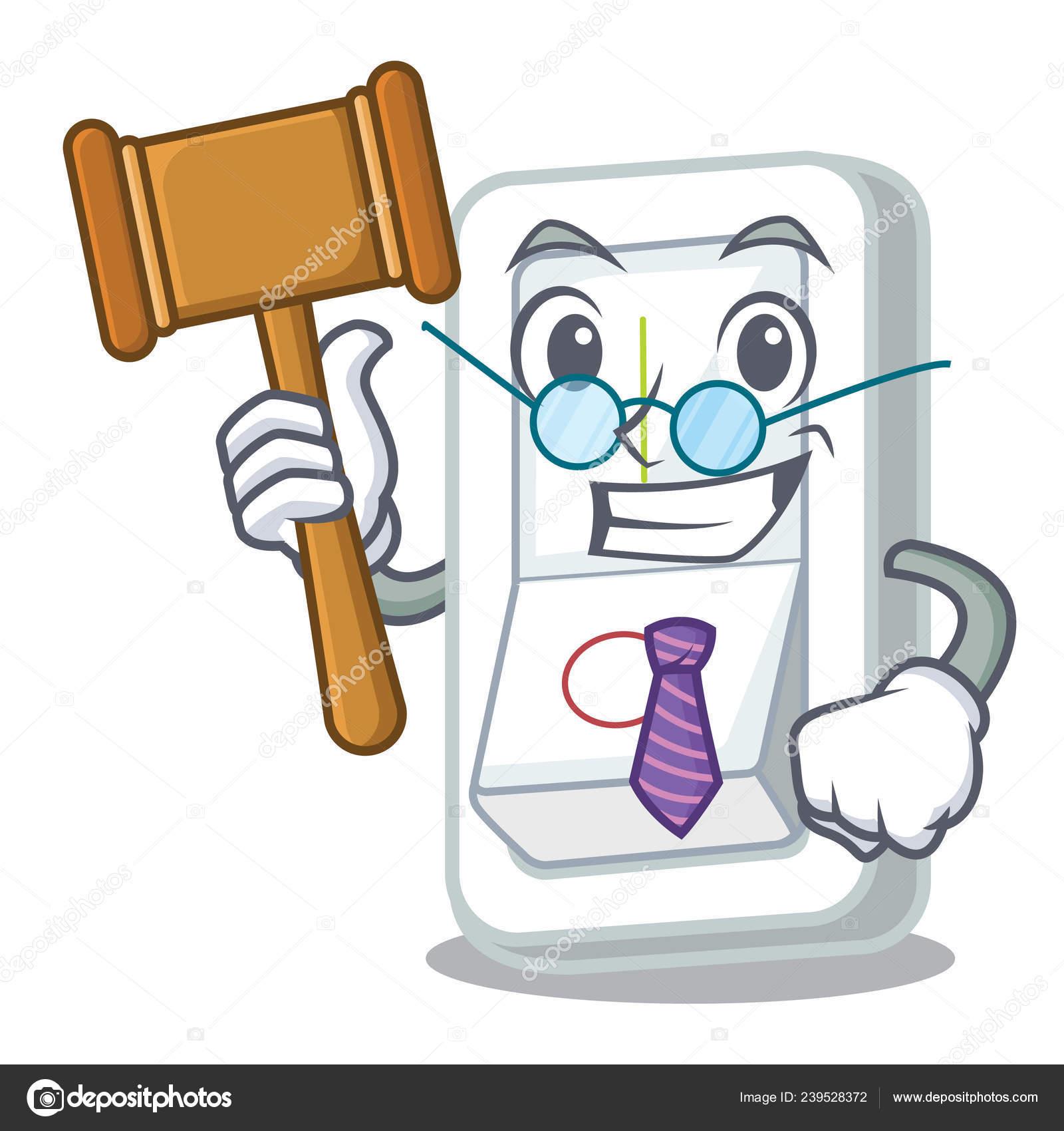 Judge Light Switch Cartoon Wooden Wall Vector Illustration