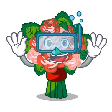 Diving bouquets flower on the character shape vector illustration