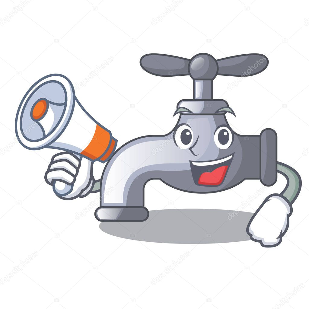 With megaphone water tap in shape of mascot vector illustration