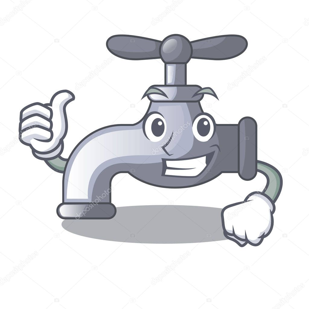 Thumbs up water tap installed in cartoon bathroom vector illustration