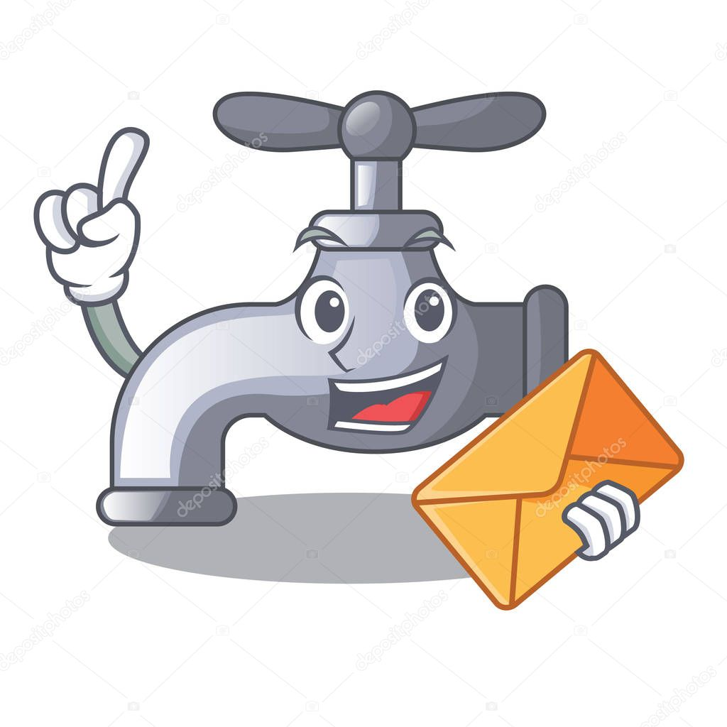 With envelope water tap installed in cartoon bathroom vector illustration