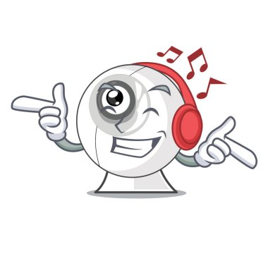 Listening music webcam is isolated with the cartoons vector illustration