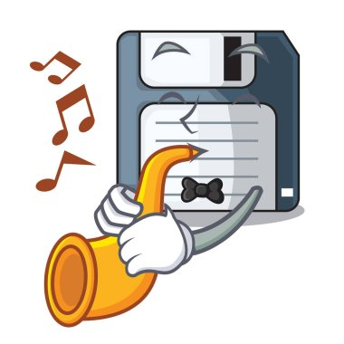 With trumpet floppy disk in the character funny vector illustration