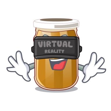 Virtual reality almond butter cartoon in a bowl vector illustration