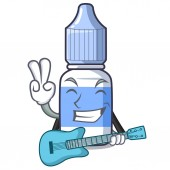 Fotografie With guitar cartoon eye drops on drug rack vector illustration