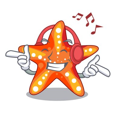 Listening music starfish isolated with in the cartoons vector illustration