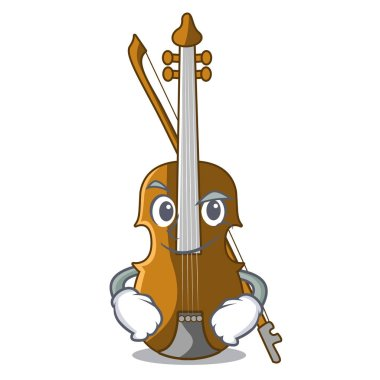 Smirking violin in the shape cartoon wood vector illustration