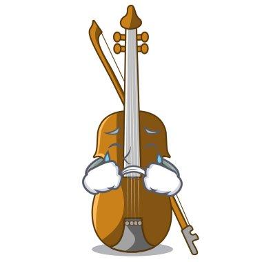 Crying violin in the cartoon music room vector illustratin