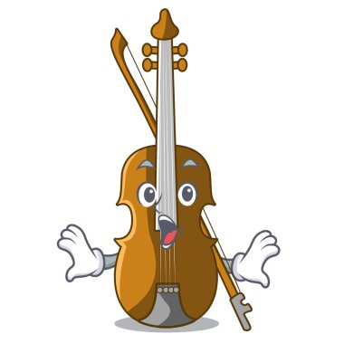 Surprised violin in the cartoon music room vector illustratin