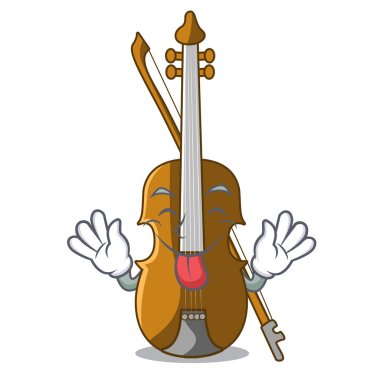 Tongue out violin isolated with in the mascot vector illustration