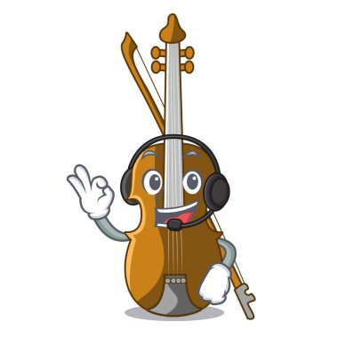 With headphone violin isolated with in the mascot vector illustration