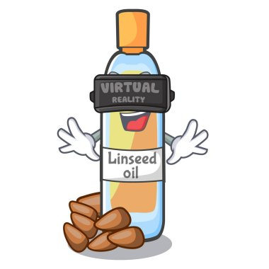 Virtual reality lenseed oil in a cartoon glass